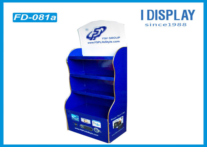 3 Tiers Custom Cardboard Floor Displays Stand Blue Color For Computer Accessories