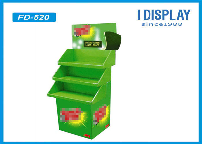 3 Tier Advertising Cardboard POP Displays Stand Green Painting For Toys