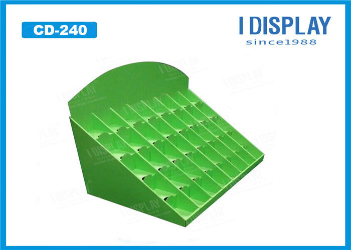Green Cosmetic Retail Cardboard Counter Display E Flute 25*38*42 CM