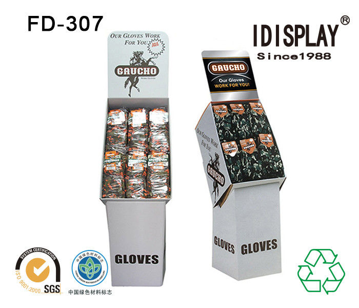 Big Pocket Merchandising Cardboard Floor Displays / Foldable Display Stand Corrugated